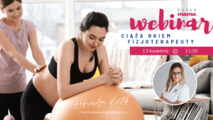 kobieta w ciąży opiera się o piłkę rehabilitacyjną